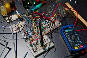 electronic circuit boards near tester